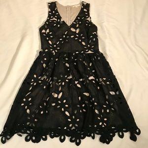 Black lace eyelet party dress